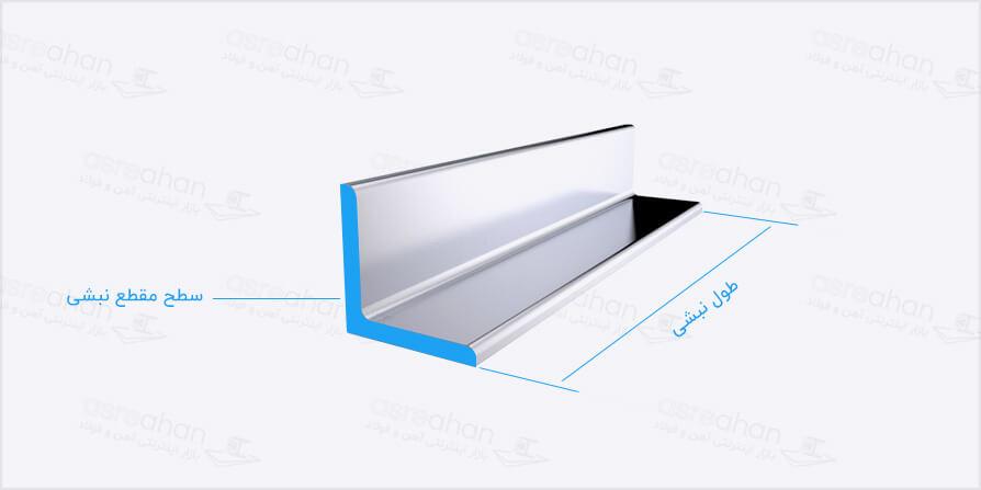 محاسبه وزن نبشی بوسیلهی مساحت سطح مقطع و طول آن