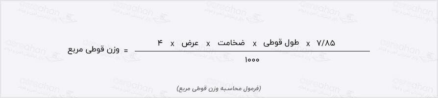 فرمول محاسبه قوطی مربع