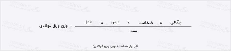 فرمول محاسبه وزن ورق