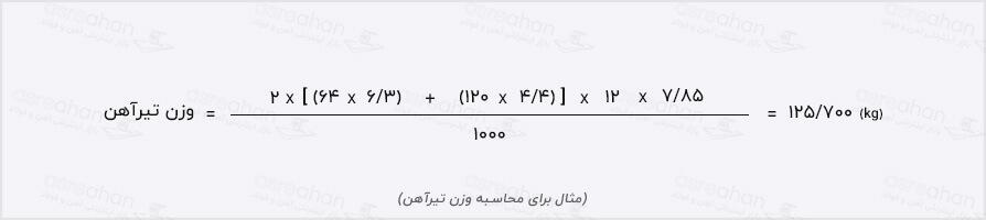 مثال محاسبه وزن تیر آهن