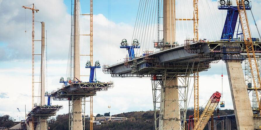 تصویری از مراحل ساخت پل بتنی