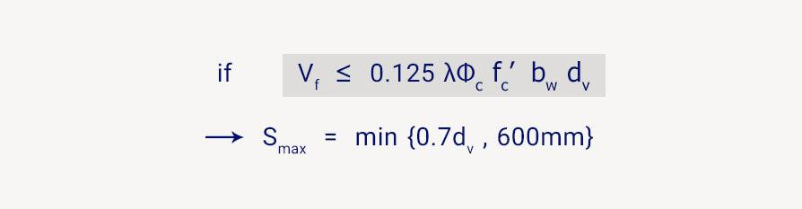 فرمول فاصله خاموت برشی