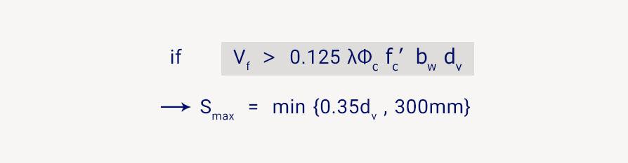 فرمول فاصله میلگرد برشی